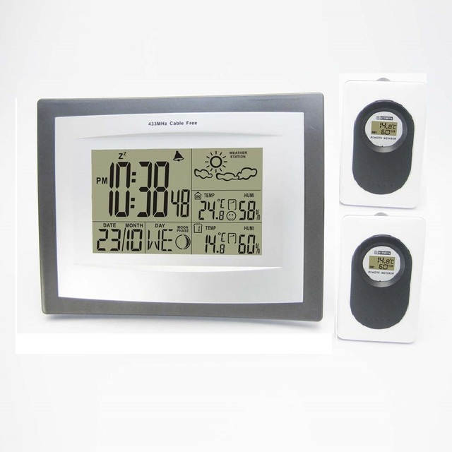 Weather Station Wireless Large Size LCD Indoor Outdoor Temperature ...