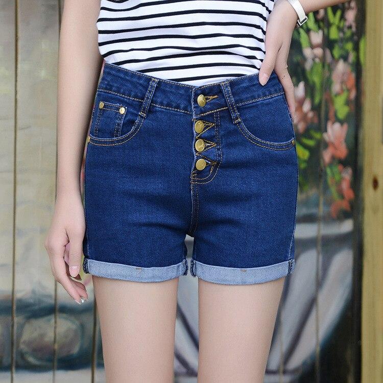 Denim Shorts Elastic Feminino High-Waist Plus-Size Fashion Women Retro for Loose Blue