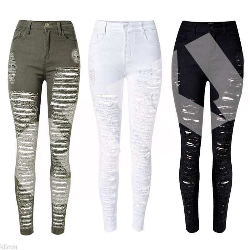 Hot Sexy Women Destroyed Ripped Denim Jeans Skinny Hole Pants High Waist Stretch Jeans Slim Pencil Trousers Black White Blue