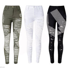 цены на Hot Sexy Women Destroyed Ripped Denim Jeans Skinny Hole Pants High Waist Stretch Jeans Slim Pencil Trousers Black White Blue  в интернет-магазинах