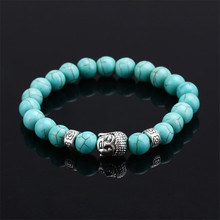 2016 Hot Natural Stone Beads Buddha Bracelets For Women Men Jewelry Silver Buddha Black Lava Bracelet