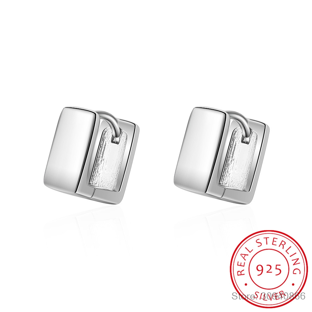 2019 Hot 925 Sterling Silver Cute Square Hoop Earrings For Women Smooth Luxury Sterling Silver Small Earring Jewelry