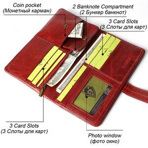 Image 3 - Kadın moda RFID kırmızı renk uzun cüzdan hakiki yağ balmumu inek derisi deri iki kat cüzdanlar çanta Vintage tasarımcı bozuk para cüzdanı