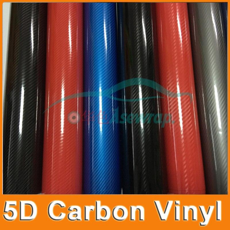 5m/10m/20m a lot Premium High Glossy 5D Carbon Fiber Vinyl 5D film car decoration For Vehicle car sticker