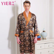 1703 yier бренд 16momme шелк Халаты Для мужчин с длинными рукавами халат длинный халат мужской кимоно Роскошные пижамы платье бесплатная Доставка