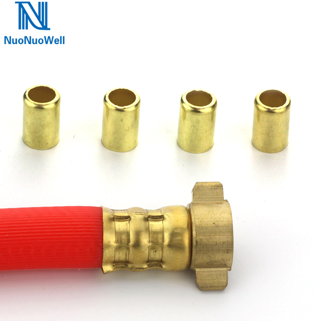 US $10 79 10% OFF NuoNuoWell 50PCS Copper Exhaust Sleeve Pipe Repair  Connector 12 5mm 16mm Soft Pipe Clamp Tube Press Water Air Adaptor-in  Garden