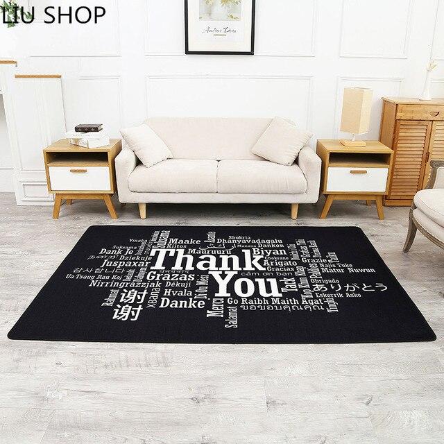 LIU Welcom Living Room Carpet Simple Modern Bedroom Mat Black Rectangular  Personality Creative Livingroom Welcome Shop