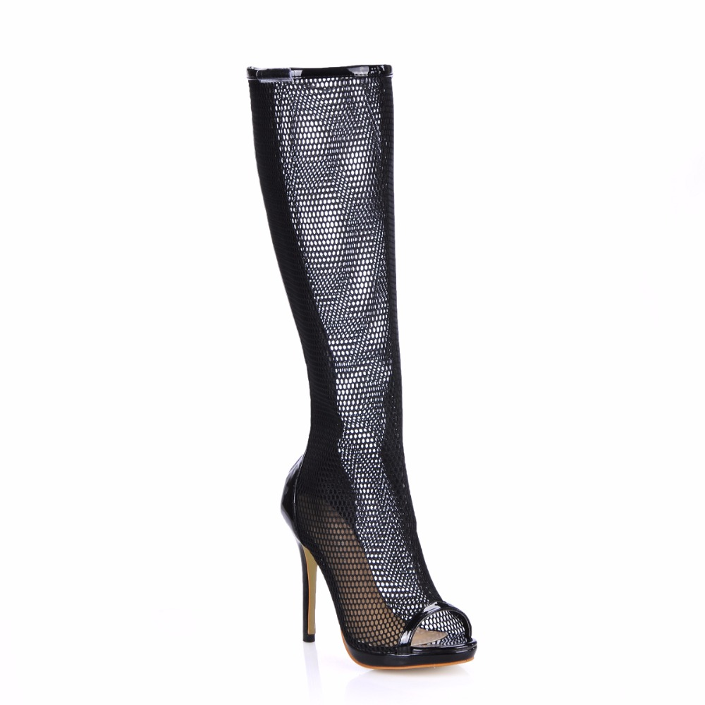 2016 Winter Black Mesh Sexy Party Shoe Women Peep Toe Stiletto High Heels Lady Knee-High Boot Zapatos Mujer Plus Size 0640ABT-g1