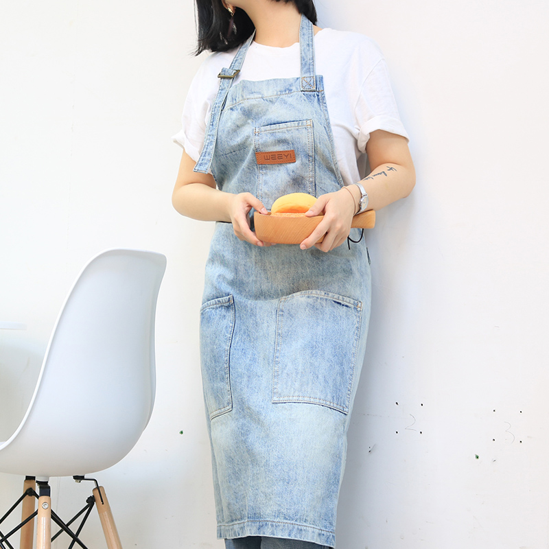 WEEYI Vintage Washable Shop Jeans Denim Apron with 3 Pockets Unisex Blue Homewear Workwear for Baker Chef Bartender