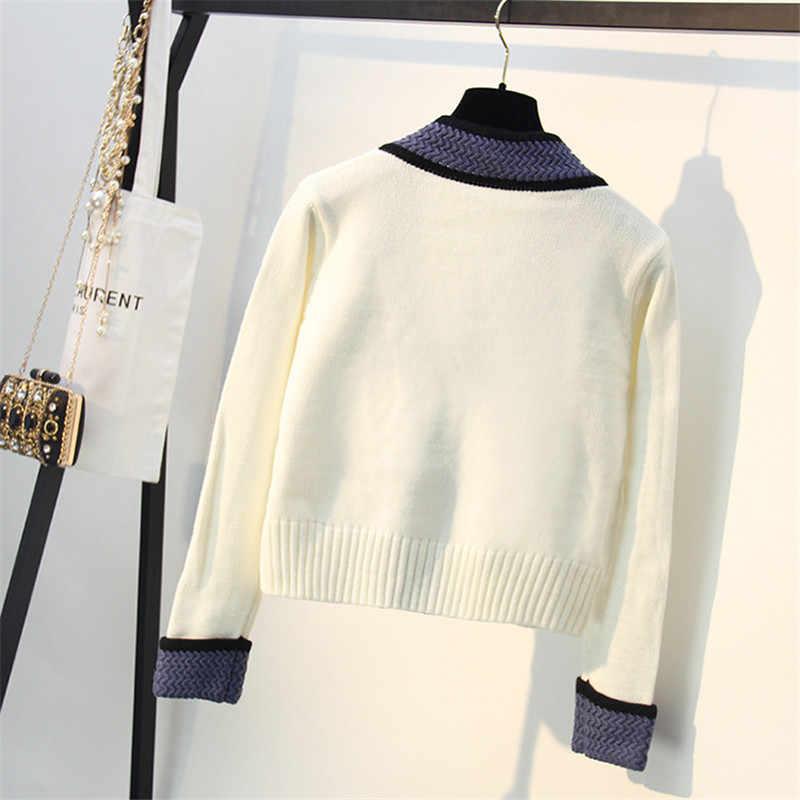 Хорошо сделанный шерстяной вязаный кардиган 2019 осень зима хит цвет v-образный вырез однобортное вязаное пальто Женский Повседневный свитер C-208