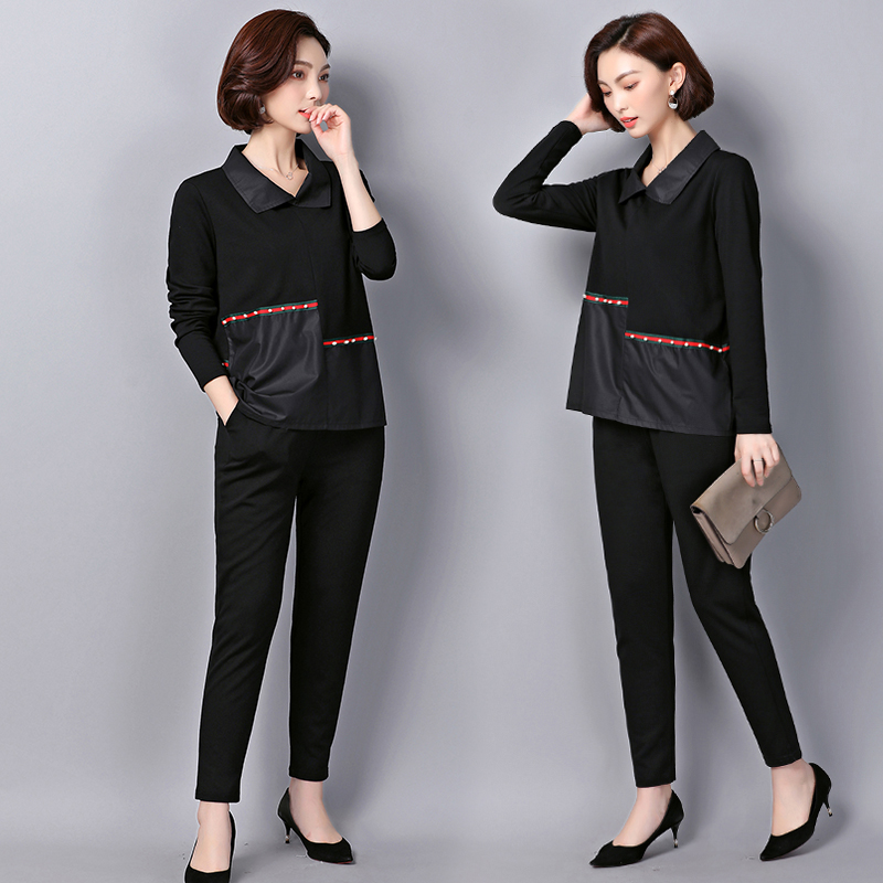 Luoyifxiong 2018 Fashion Rivet Patchwork Tops + Pants 2 Piece Set Women Casual Two Piece Set Office Suit Set Womens Tracksuit