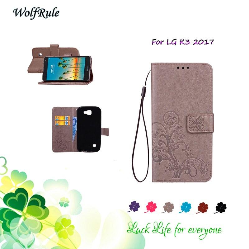 """Wolfrule СПС чехол LG K3 2017 Чехол Флип PU кожа Слот для карты бумажник сумка противоударный чехол для телефона LG K3 2017 чехол Коке 4.5"""""""