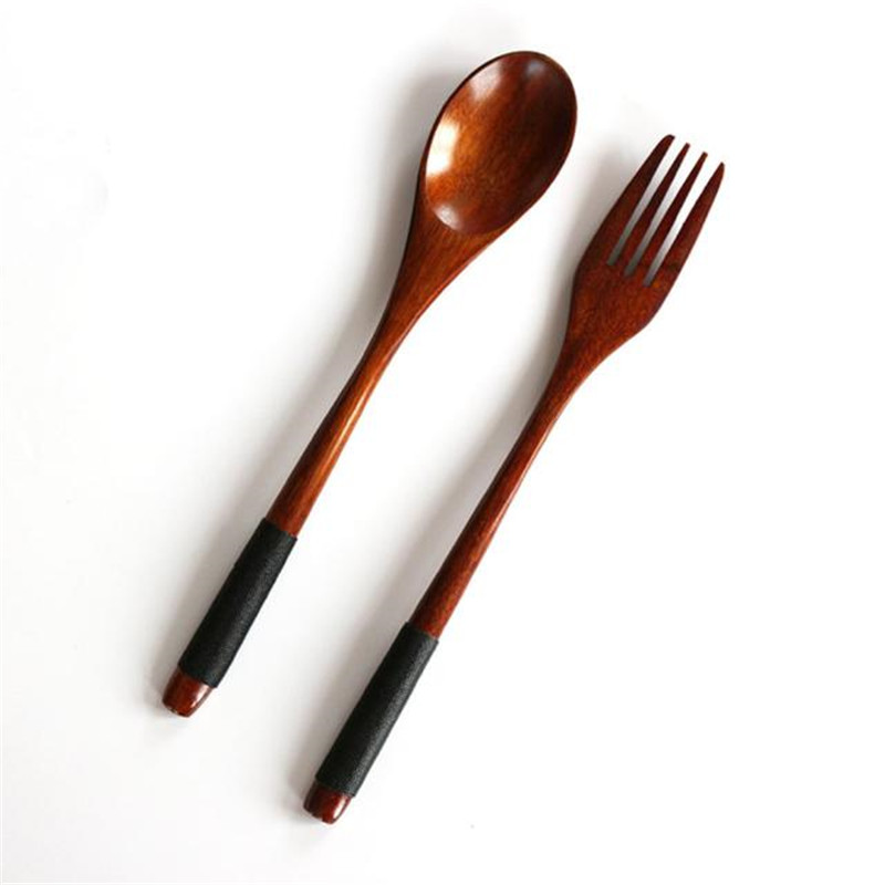 2PC Western Tableware Wood Fork Spoon Dessert Set Retro vintage style Fruit Serving Children Food Utensi scoop supply 2018 Hot ...