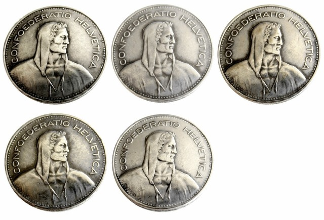 1937 1954 Schweiz Konföderation Silber 5 Franken 5 Franken Kopie