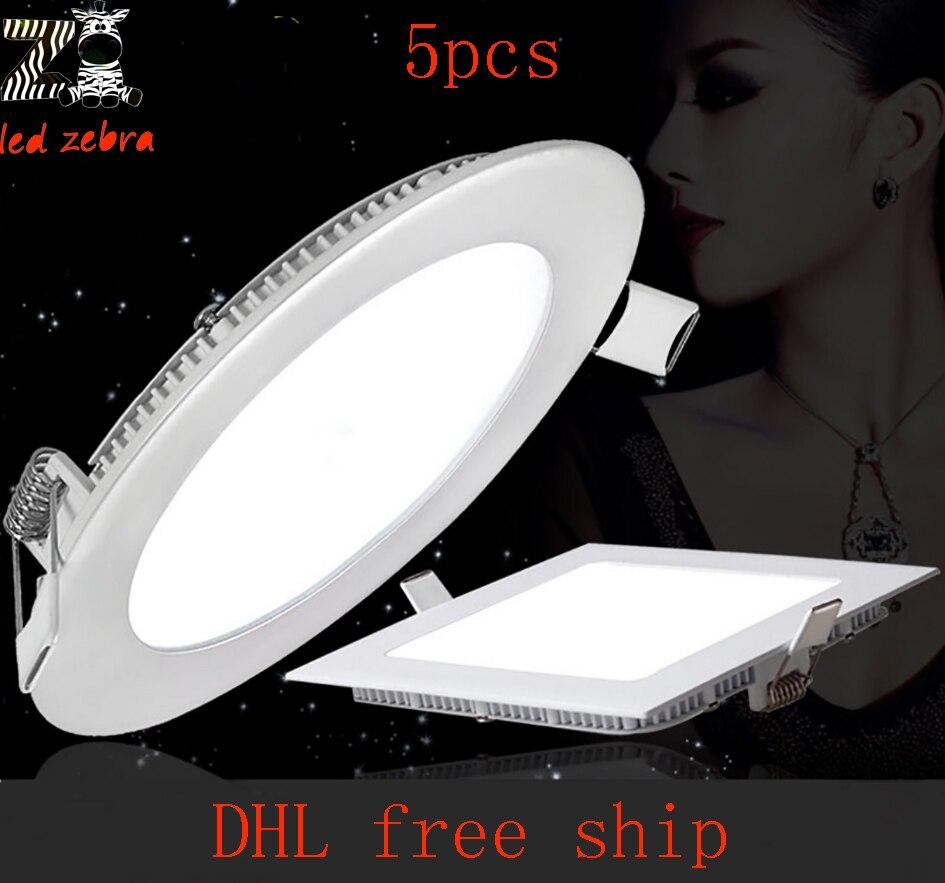5 шт. LED Панель светильник, 4 Вт 6 Вт 9 Вт 12 Вт 15 Вт 18 Вт 24 Вт LED Панель свет, квадратный/звук потолочные встраиваемые светодиодные dowlights AC85-265V ...