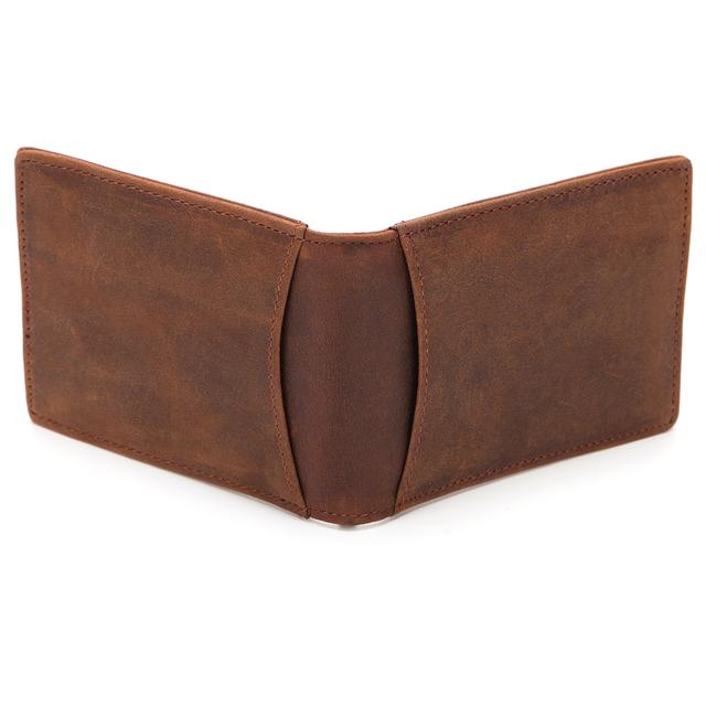 GENODERN Men RFID Blocking Money Clip Crazy Horse Leather Metal Clip Wallet  Ultra Slim Male Purse Minimalist Wallet