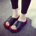 2016 Autumn Flats Flip Flops Fashion Leather Women's Slippers Bottom Fur Slippers Fur Stuffies Brim Out Women Casual Slippers