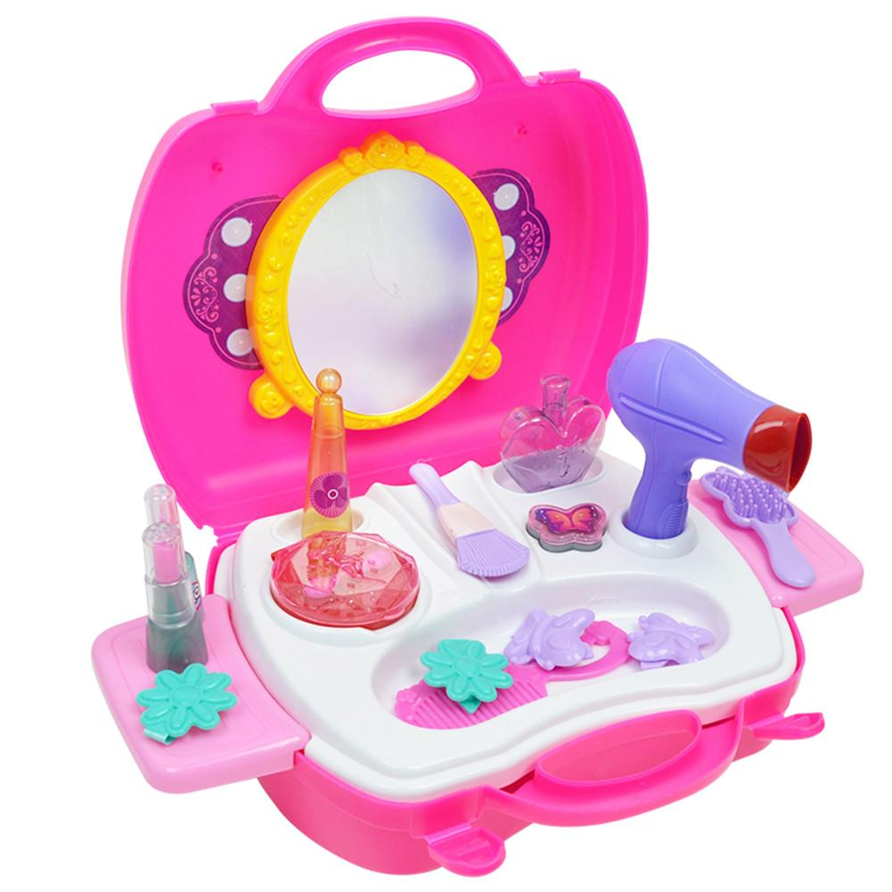 Kids Girls House Play Princess Makeup Beauty Toy Kit Pretend Fake Jewelry Portable Cosmetic Toys Box Kid Girl Pretend Toy