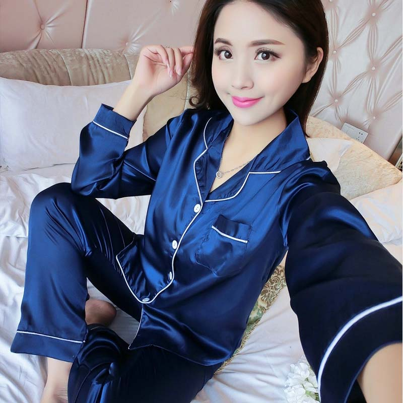 Pajamas     Sets   Spring Autumn 11 Colors Solid Color Women Long Sleepwear Suit Home Women Gift Female Sleepwear E0023