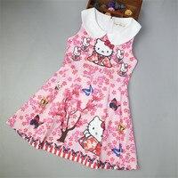 Momoda New Autumn Winter Girl Dress Cartoon Hello Kitty Printed Party Dresses Kids Clothes Princess Robe