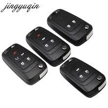 Jingyuqin 20 adet/grup 2/3/4/5 düğmeler çevirme katlanır araba anahtarı kabuk için Chevrolet Cruze uzaktan anahtar kutu anahtarsız Fob kesilmemiş HU100 bıçak