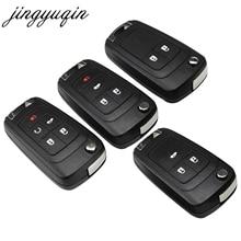Jingyuqin 20 pçs/lote 2/3/4/5 botões flip dobrável escudo da chave do carro para chevrolet cruze remoto caso chave keyless fob uncut hu100 lâmina