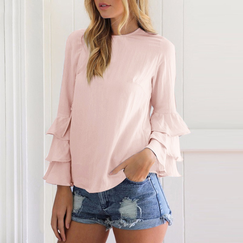 Women Elegant Ladies Solid Casual Tops Ruffles Long Sleeves O-Neck Butterfly Sleeve Blusas Femininas  Shirt 4 Colors S-5XL