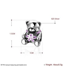 GOMAYA S925 Sterling Silver Charm Bow Bead Bear Bracelets For Girls Ladies Fashing Popular Jewwlry Accessories bow decor backpack with bear charm 4pcs