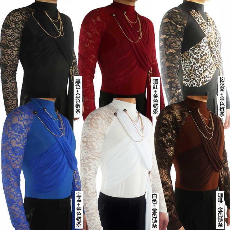 Latin Dance Shirts Männer Spitze Druck Langarm Hohe Kragen Männlichen Wettbewerb Leistung Tanzen Top Cha Cha Rumba Samba DNV11331