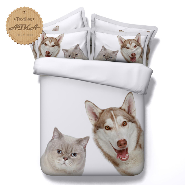 Captivating #q 3d Bedding Set Wolf Siberian Husky Cat Dog Bedding Print Twin Queen King  Super