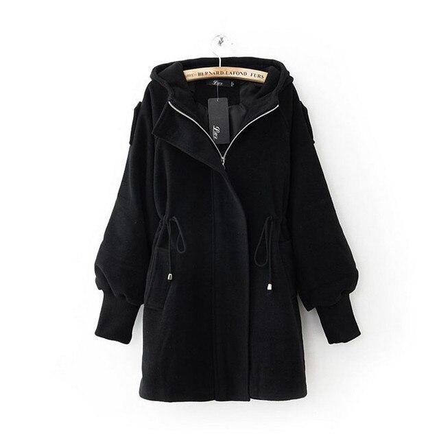 Fashion Casual Hooded Large Size Women Spring Jackets Women Drawstring Slim wool coat female fashion