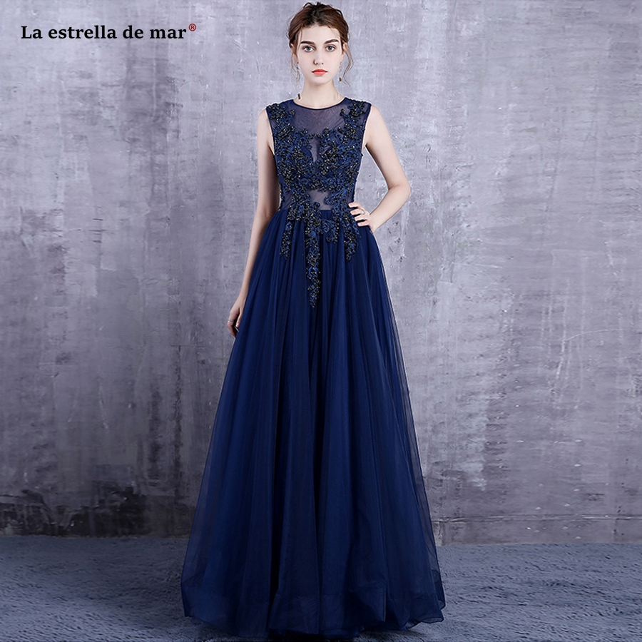 Vestido de madrinha new Scoop neck lace crystal A Line navy blue   bridesmaid     dress   long robe demoiselle d'honneur custom