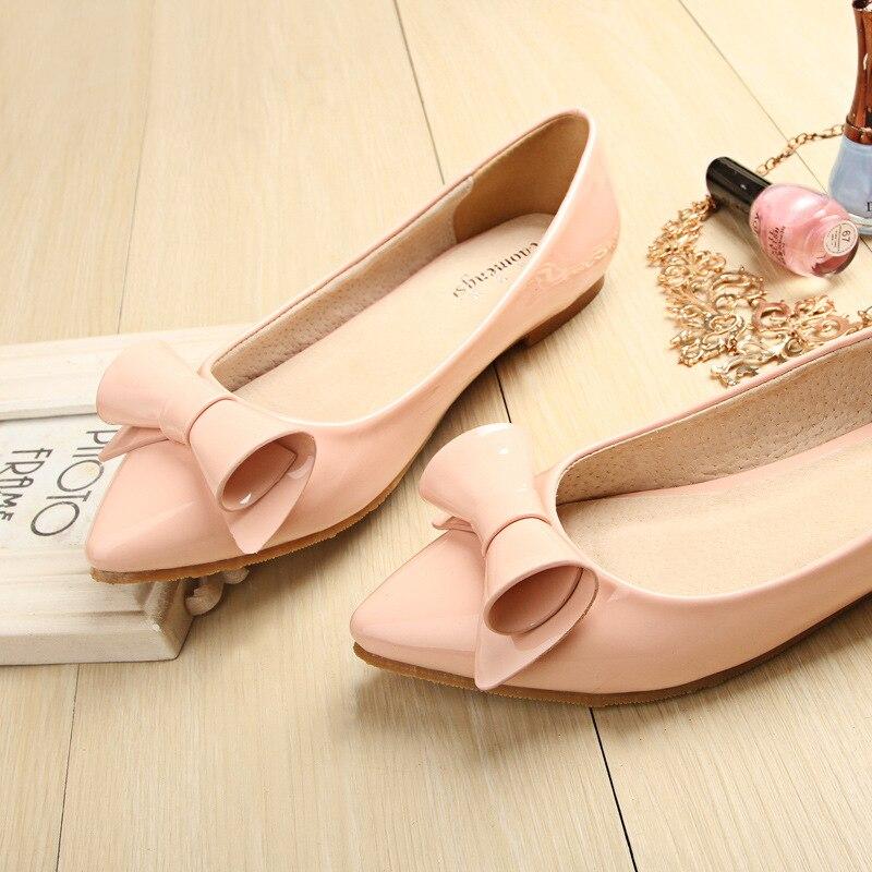 Slip Pointu Plat Couleur En Peu Bouche Coréenne Verni Profonde Avec on Bout Pink De Chaussures Taomengsi Casual Rose Sucrerie Femmes Cuir wFx67qq