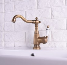 цена на Vintage Antique Brass Single Ceramic Lever Handle Swivel Spout Bathroom Basin Kitchen Sink Faucet Cold & Hot Mixer Tap asf115