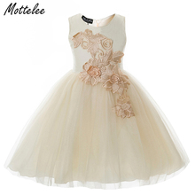 Mottelee Girls Flower Dress Mesh Children Wedding Party Dresses Formal Birthday Frocks Kids Evening Prom Clothing for Girl