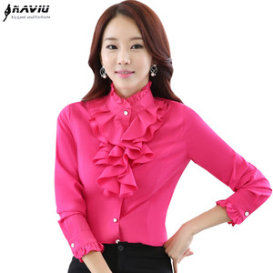 Image 1 - Высококачественная шифоновая блузка с длинным рукавом, элегантная женская рубашка с оборками, облегающая офисная блузка, Женская рабочая одежда, женские топы