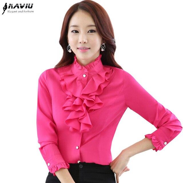 Высококачественная шифоновая блузка с длинным рукавом, элегантная женская рубашка с оборками, облегающая офисная блузка, Женская рабочая одежда, женские топы