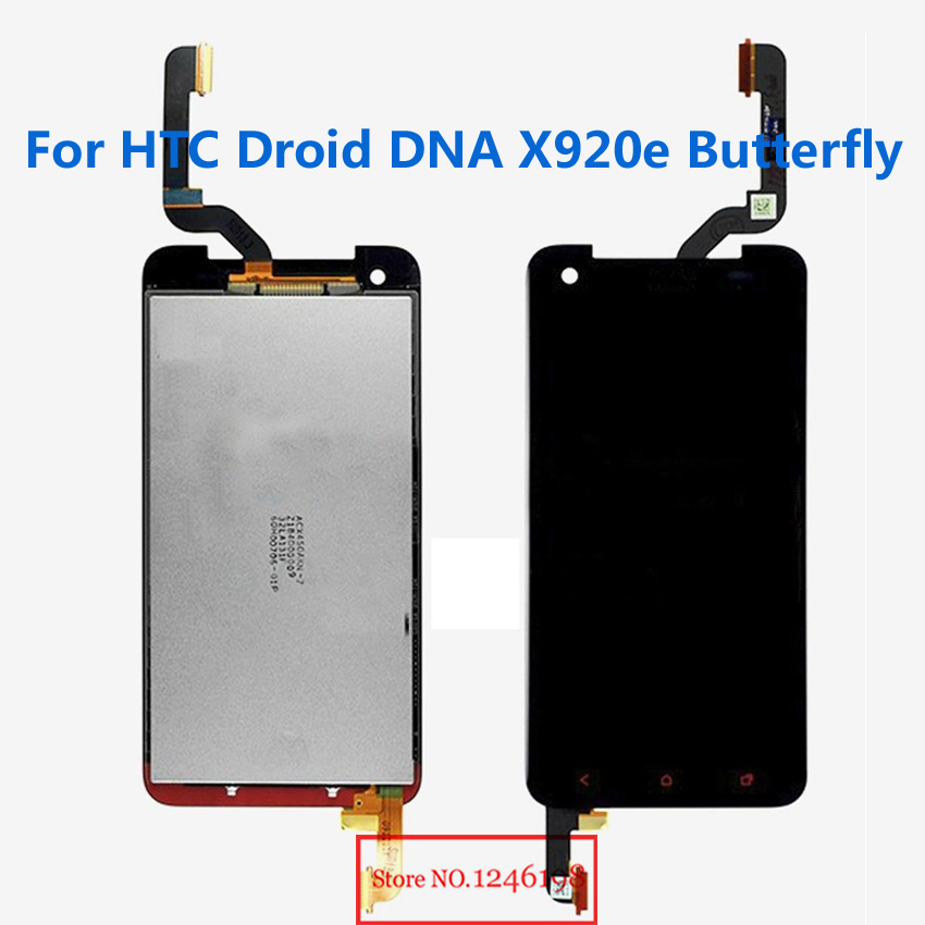 TOP Quality Full LCD Display Touch Screen Digitizer Assembly For HTC Droid DNA X920e Butterfly HTC LOGO Phone Replacement Part