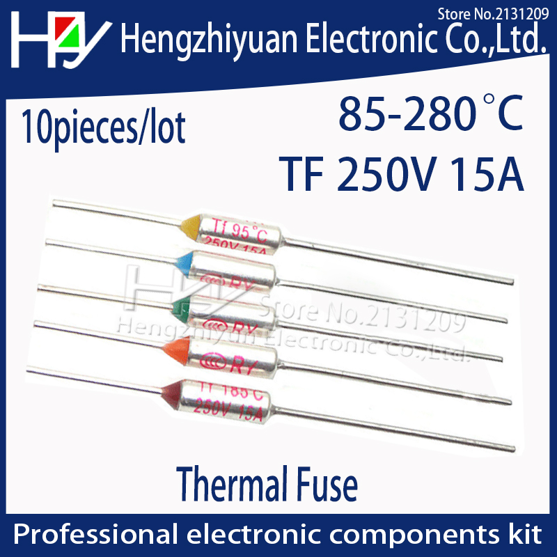 Hzy 85~280C 240C thermal guards Celsius Degree Thermal Fuse 15A 250V Micro Mini Electrical Temp Temperature Fuse Thermal Cutoff 20 pcs ry series metal 192 celsius 250v 10a cutoffs thermal fuse