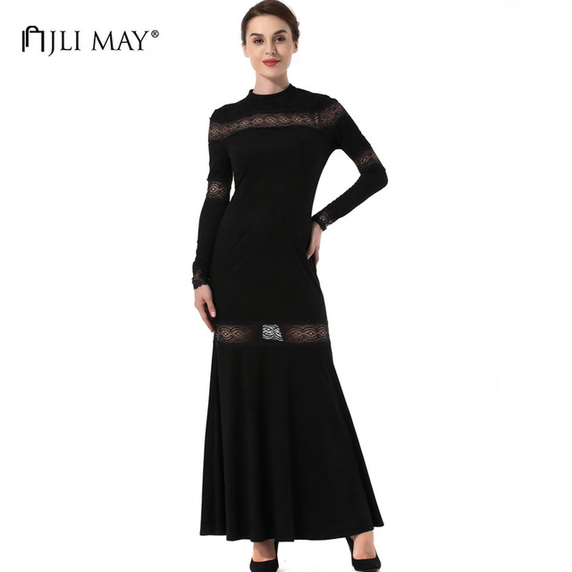 JLI MAY Suede lace maxi dress mermaid black slim long sleeve autumn women formal elegant evening party sexy ladies long dresses