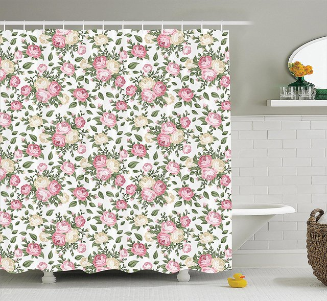 WARM TOUR Roses Rosebuds Leaves Fashion Shower Curtain Polyester Hotel Bathroom With Hooks Ring72X72Inch