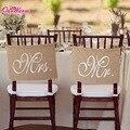 Khaki Mr. & Mrs. Arpillera Silla Conjunto Silla Signo Bandera Guirnalda Rústico Decoración Del Banquete de Boda
