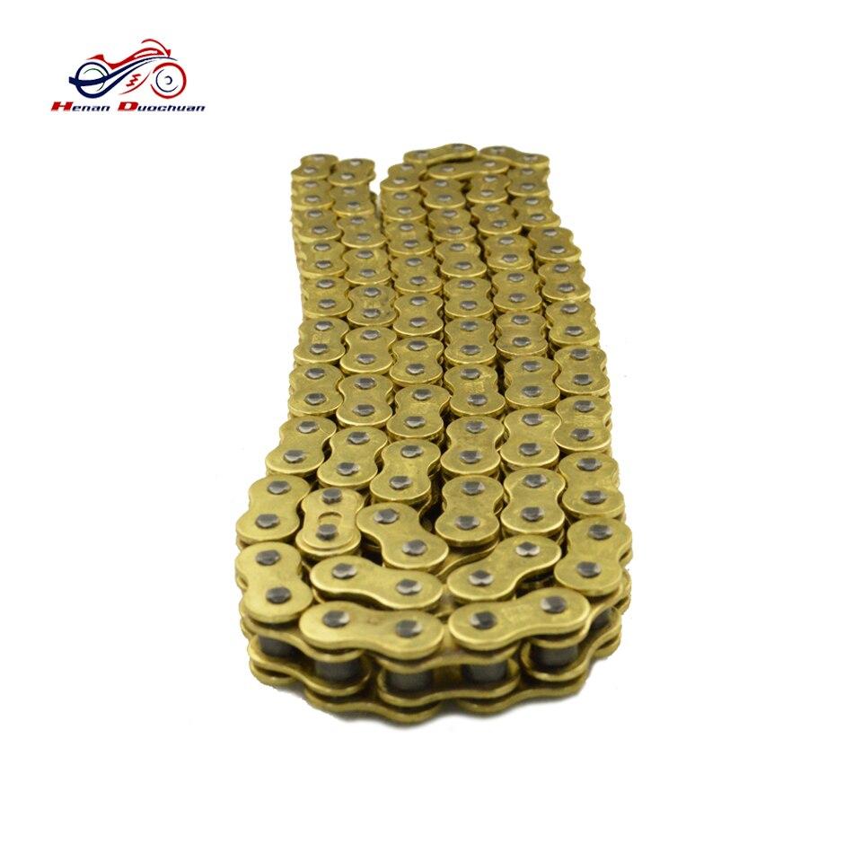112 liens en acier doré O Ring joint d'huile chaîne 520 525 530 428 moto entraînement chaîne pour HONDA YAMAHA SUZUKI KAWASAKI