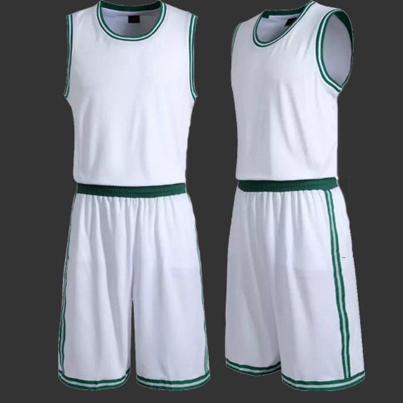 234de79ca17 Team Uniform Men Blank Basketball Jerseys Sports Training Shirt Short Sets  Male Basketball Clothes White Green Plus Size-in Basketball Jerseys from  Sports ...