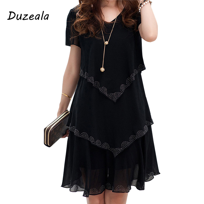 5xl Plus Size Women Clothing Chiffon Dress Summer Dresses Party Short Sleeve Casual Vestido De Festa Blue Black Robe Femme