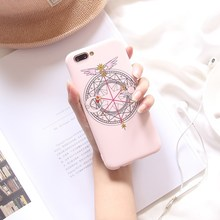 Cute Pink girl Cartoon Cardcaptor Sakura Magic Wand High Quality Soft TPU Case For Iphone 6 6S 7 8 X 6P 7P 8plus 10 Cover