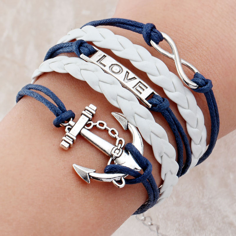 Multilayer Charm Bracelet Anchor Men Paracord Bracelets Love Pulsera Hombre Leather Bijoux Homme In From Jewelry