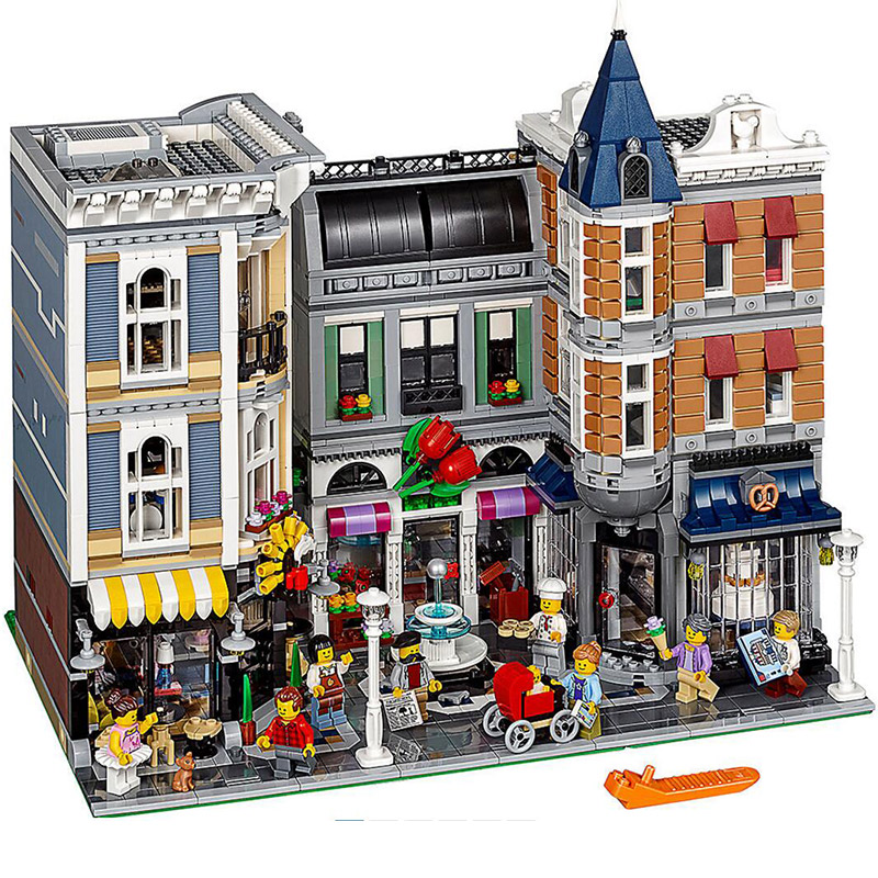 15019 MOC Creative City Street The Assembly Square Set 4002pcs Building Building Block Bricks Toys Children Gifts15019 MOC Creative City Street The Assembly Square Set 4002pcs Building Building Block Bricks Toys Children Gifts