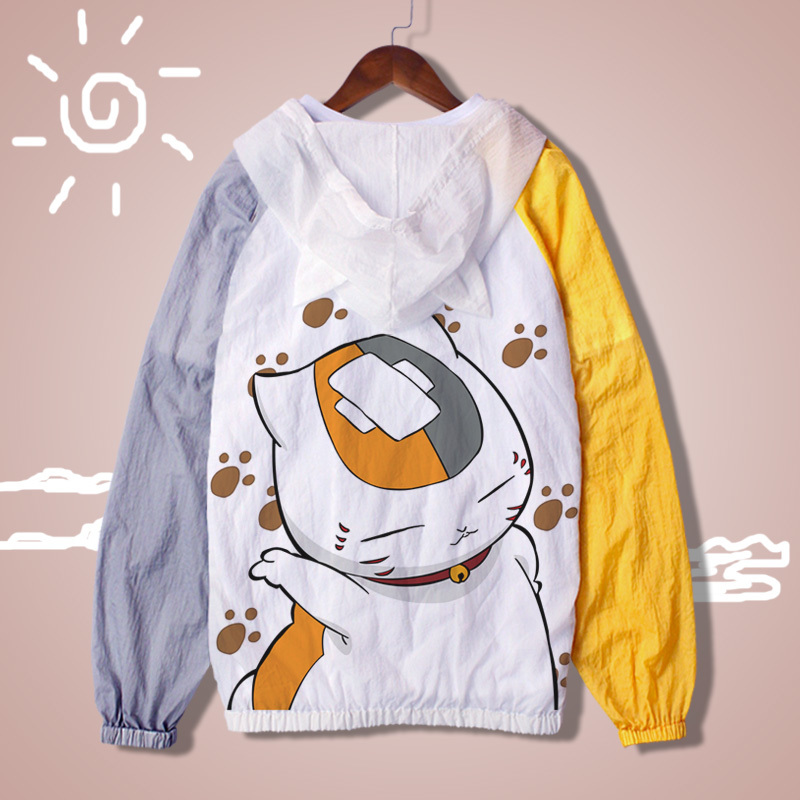 Anime Natsume Yuujinchou Sun Protective Jacket Ultralight Anti-UV Thin Windbreaker Summer Kawaii Cute Cat Print Coat A62106