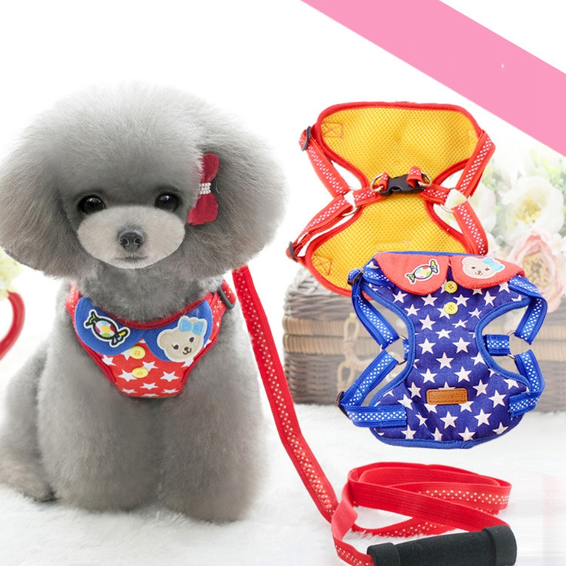 Candy Star Harness For Dogs Puppy Breeds Small Pet Walking Animals Products For Dachshund Yorkshire Hot Sale Collar For Cats